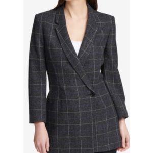 DKNY black & blue plaid blazer jacket size 12